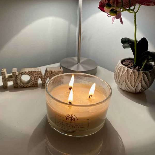 Oriental Spice and Cherry Blossom Triple Wick Candle