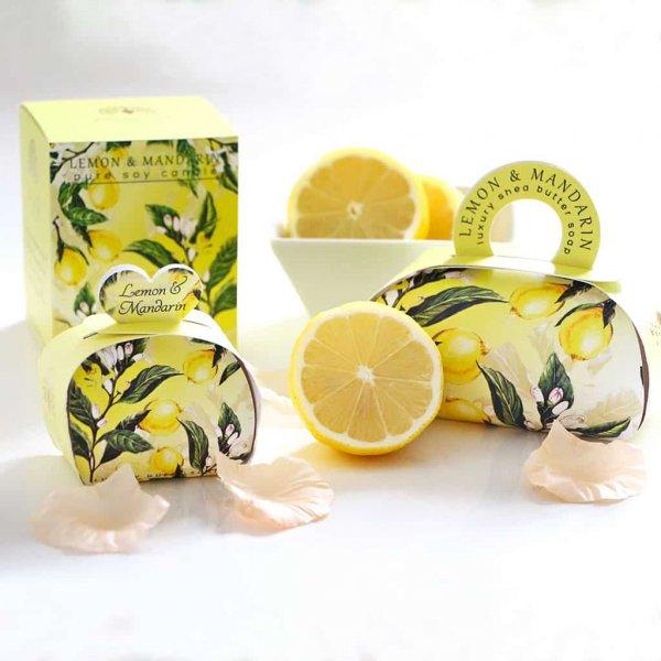 Gift Soap and Candle Set Lemon and Mandarin