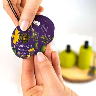Kew Gardens Narcissus Lime Body Oil Label