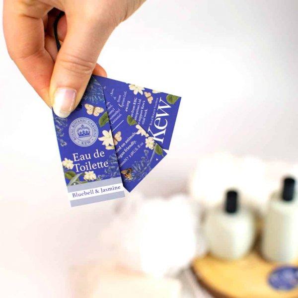 Kew Gardens Bluebell and jasmine Eau de Toilette Label